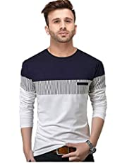 FastColors Men's Striped Regular fit T-Shirt (4070-71-72-85_Maroon_XL)