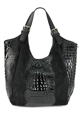 BELLI® XXL ital. Leder Handtasche Shopper Leder Kroko Mix schwarz - 46x34 (mittig)x14 cm (B x H x T) (Bag Leder Geprägtes Hobo)