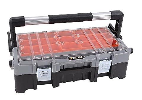 Tactix Werkzeugkoffer/-trage mit Organizeraufsatz mehrteilig, 15 herausnehmbare Boxen, Aluminiumhandgriff, (Hinten Werkzeugkasten)