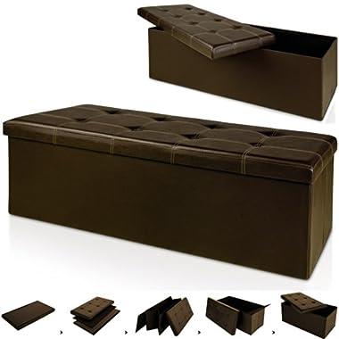 Deuba Faltbare Sitztruhe Sitzbank Kunstleder Braun 115x40x40cm 131 L Hohe Belastbarkeit Gepolstert Aufbewahrungsbox Fußbank Bank Hocker Ottomane