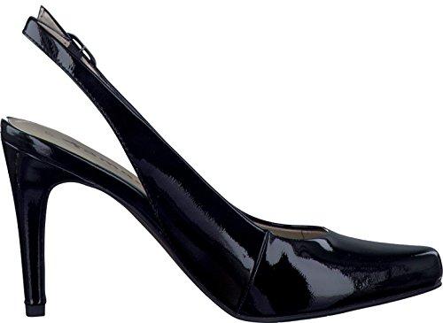 Tamaris Schuhe 1-1-29609-28 bequeme Damen Sling, Sommerschuhe für modebewusste Frau, Black Patent