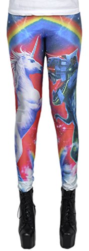 erdbeerloft - Damen Mädchen Leggins Leggings Einhorn vs T-Rex Print, One Size S-M-L, Mehrfarbig