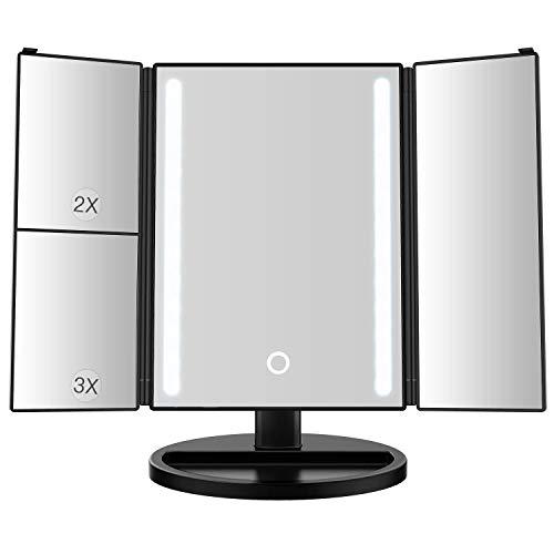 Kreativer geführter Kosmetikspiegel 15-Zoll-größerer Kosmetikspiegel mit 3x / 2x Vergrößerung, dimmbarem Licht, Touchscreen, 180 \u0026 deg; Einstellbare Rotation, Batterie- und USB-Betrieb,