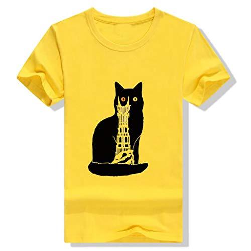 IMJONO Frauen Tops 2019n Frauen Mädchen Cat Print Tees Shirt Kurzarm T Shirt Bluse Tops(XXX-Large,Gelb)