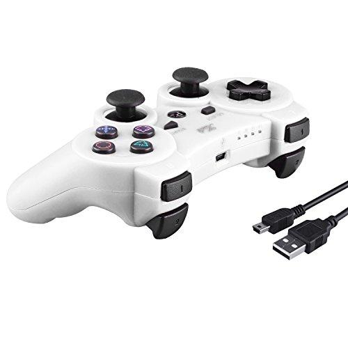 Kabi Wireless Bluetooth Game Romote Controller mit 6-AXIS Double Shock Bonus kostenloses Ladekabel für ps3 PlayStation 3 Controller( (Neue Version) (Weiß)