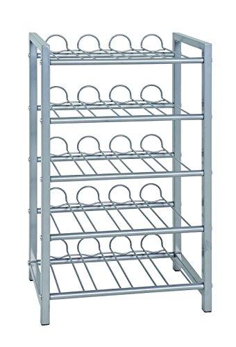Haku Möbel Flaschenständer - Stahlrohr alufarben lackiert für ca 35 Flaschen H 59 cm -