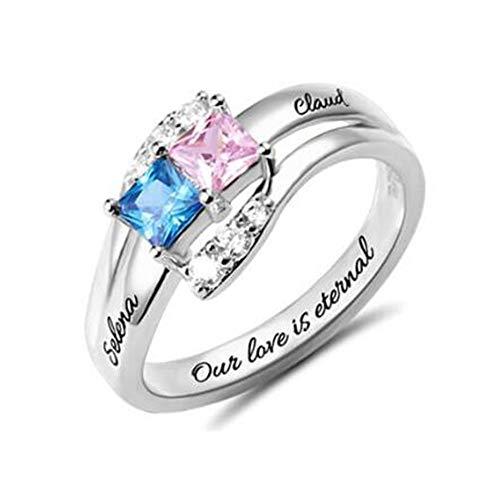 hjsadgasd Sterling Silver Engraved Ring 2 Geburtssteine und Namen Versprechungsringe für Paare, Verlobungsringe für Frauen