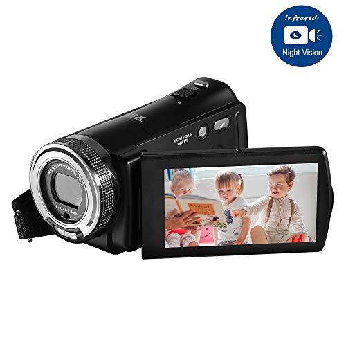 Video Camcorder, ORDRO Full HD Camcorder 16X Digitalzoom 1080P 3'' LCD-Screen Videokamera Vlogging Kamera mit IR Nachtsicht, 16 GB SD Karte und 2 Akku
