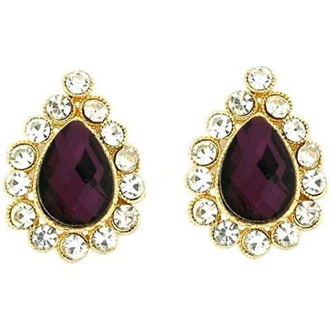 Clip On Earrings Store in stile vittoriano con ametista viola Orecchini a goccia con cristallo, a