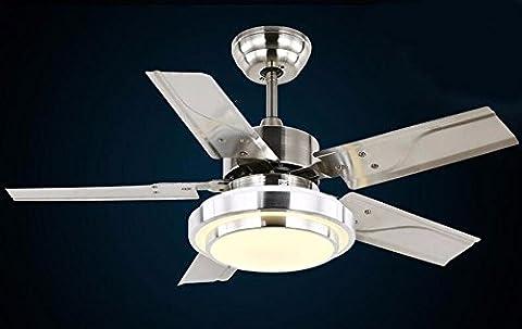 Fgsgz Ventilator Kronleuchter LED-minimalistischen Stil Home Decor Edelstahl Blätter wand Steuerung Durchmesser 91 (Fan-wand Steuerung)