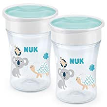 NUK Magic Cup Sippy Cup | 360° Anti-Spill Rim | 8+ Months | BPA-Free | 230 ml | Neutral | 2 Count