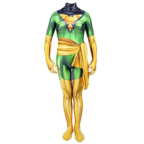 Hope X-Men Dark Phoenix Kostüm, Siamese Strumpfhosen Kinder Erwachsene Cosplay Outfit Kostümfest Halloween Overall Maskerade Requisiten,Green-145~155 - Phoenix Kostüm Kind