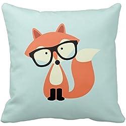 18x 18cute Hipster zorro rojo decorativo funda de almohada Funda de cojín