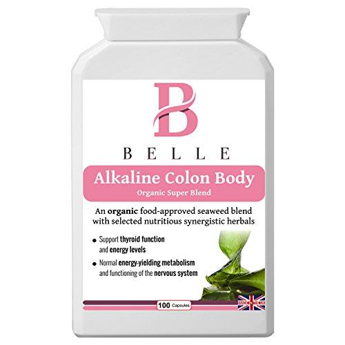 Belle® Complément corporel au colon alcalin - Organic Super Blend - Aliments alcalins, nettoyage, désintoxication et formule alimentaire quotidienne - Avec les algues, l'artichaut, la chlorella, la feuille de thé vert, la spiruline, la rhubarbe et la cayenne - Convient pour les végétariens, les végétaliens et les Kosher Approuvé - 100 gélules