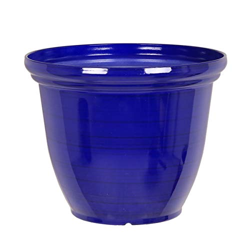 Recycled Plastic Large Brushed Metallic Effect Garden Pot Planter (Blue)