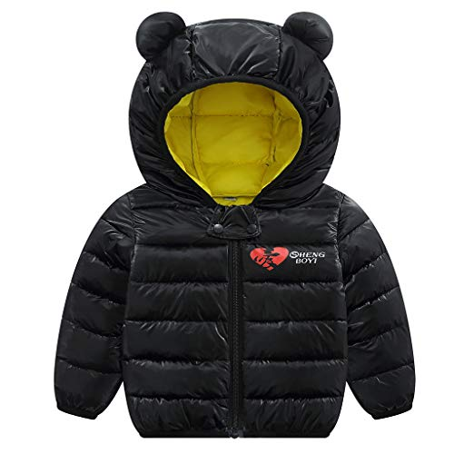 Jiamy bambino inverno giacche cappotto con cappuccio ragazzi ragazze leggero giubbotti nero 90cm