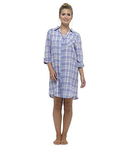 womens-ladies-nightwear-sleepwear-check-button-through-nightshirt-with-top-pocket-blue-12-14