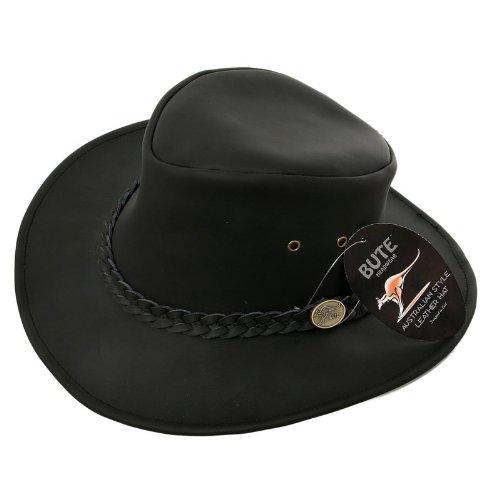 Hawkins Cuir Noir Australien Chapeau de Cowboy - Noir - Small