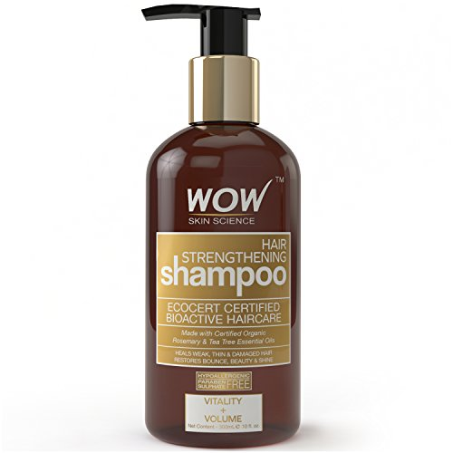 WOW Hair Strengthening Shampoo, 300mL - No Sulphate - No Parabens - Infused Organic Rosemary & Tea Tree Oil