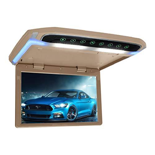 MiCarBa 12.1 pulgadas Flip Down Monitor 1080P HD TFT LCD Overhead Car TV Pantallas Ultra Thin Roof Mount Monitor HDMI SD Reproductor de MP3 MP4 con botón LED retroiluminado y luz ambiente(Beige)