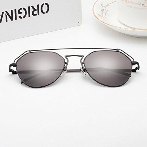 neue sonnenbrille sonnenbrille lady junge blatt star fahrer persönlichkeit elegante koreanischen mode - runde spiegel,black box (bag) grauen film