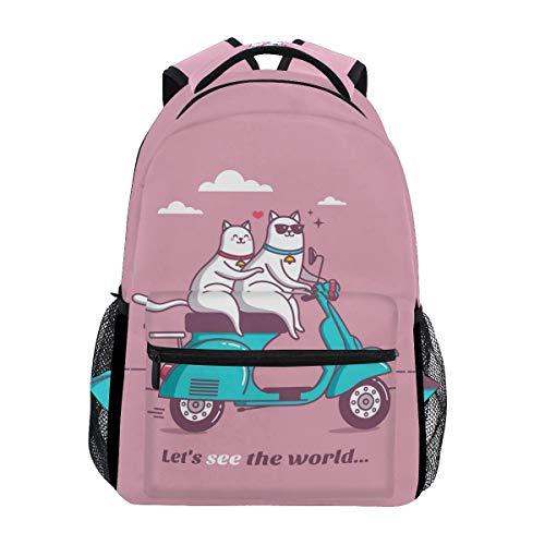 Wfispiy Vintage Roller mit Katze Rucksack Schultasche Travel Daypack für Jungen Mädchen -