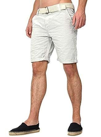 Sublevel Herren Chino Shorts mit Gürtel in verschiedenen Farben hellgrau W29
