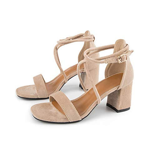 Summer Sexy WomenHigh Heels Sandals Women Bandages Sandals Gladiator Ladies Open Toe Buckle Strap Rome Shoes AA60715 Khaki 7 cm 4.5