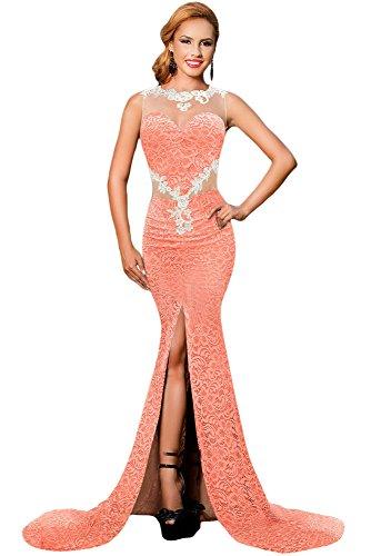 Langes Abendkleid aus Spitze für Damen, orange- und hautfarben mit Blumenverzierung, Größe S (Reißverschluss Seitlich Rock Mit Floral)