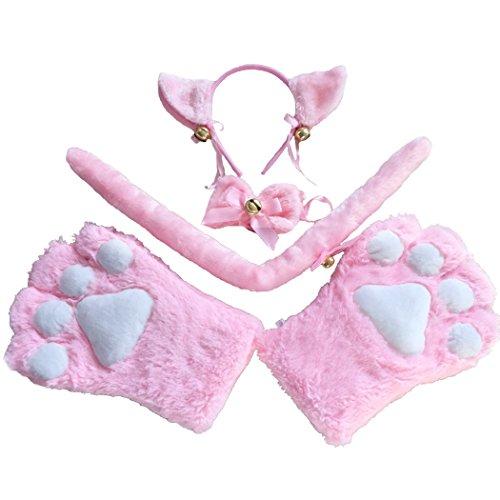 FORLADY Haarband Katze Ohr Katze Claws Anzug mit Glocken Katze Claw Bear Claws Handschuh Anime peripheren Cosplay Zubehör