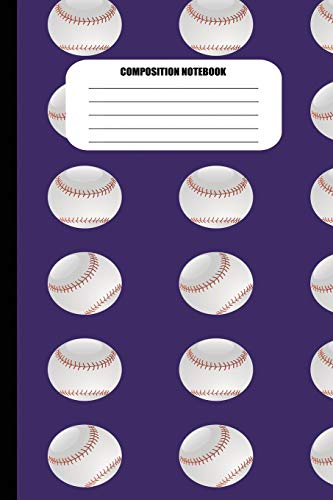 Composition Notebook: Baseballs in Columns Pattern (100 Pages, College Ruled) por Sutherland Creek