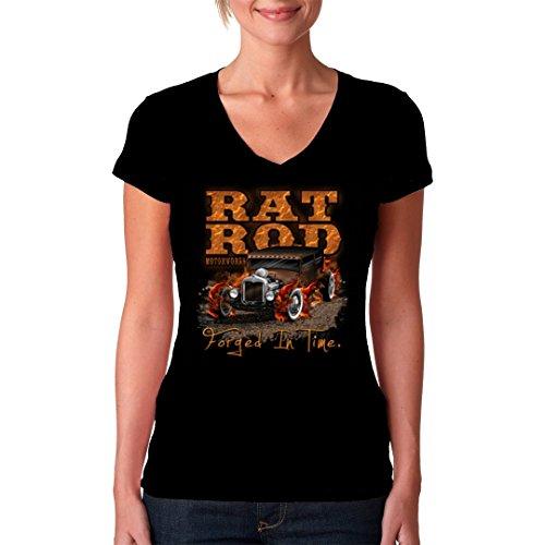 Hot Rod Girlie VNeck Shirt Hot Rod Motiv, Rat Rod Motorworks by ImShirt  Schwarz