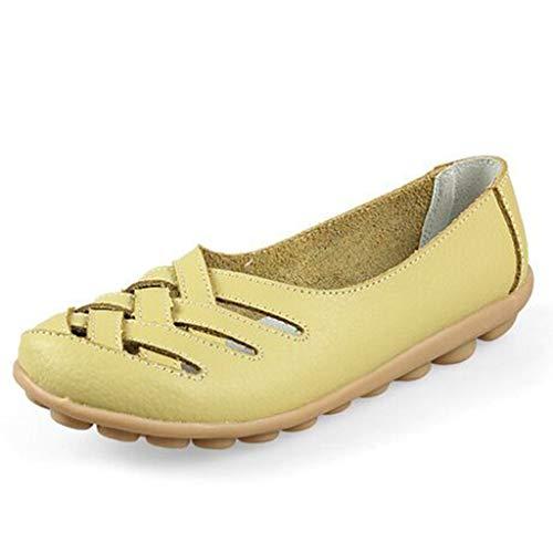 BHYDRY Frauen einfarbig hohle Rindfleisch Sehne unten Mutter Schuhe einzelne Schuhe fläche Sandalen Erbsenschuhe(Hellgrün,44)