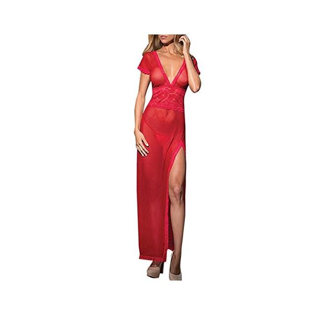 f2faa9ffc9120 Solike Femmes Robes Ensembles de Lingerie Dentelle Col V érotique  Transparent sous-vêtements Tangas Séduction ...