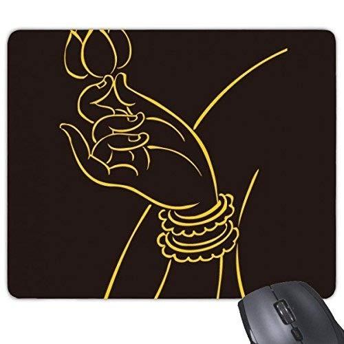Buddhismus-Religions-buddhistische Schwarze gelbe Hand-Lotus-einfache Linie, die Illustrations-Muster-Rechteck-Rutschfeste Gummi Mousepad Spiel-Mausunterlage ()