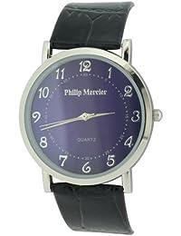 Philip Mercier SML46/B - Reloj analógico de caballero de cuarzo con correa de piel negra
