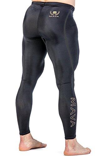 Mava Lange Kompressions-Leggings für Männer - Base-Layer-Strumpfhosen für Workouts, Laufen, Radfahren, Sport, Training, Gewichtheben - Langes Capri für jedes Wetter, schwarz / gold (Capri Footless Tights)