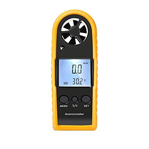 Proster - Termómetro y anemómetro Digital con LCD, medidor de Velocidad del Viento, medidor de Escala...