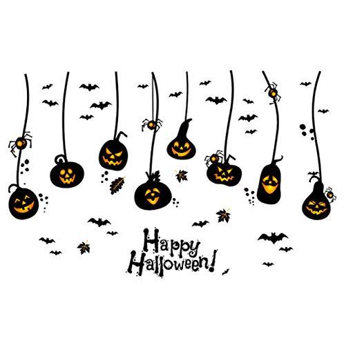 Autoadesivo appeso della parete delle zucche di halloween felice, autoadesivi divertenti della parete della casa di halloween del fondo della porta della finestra del fumetto
