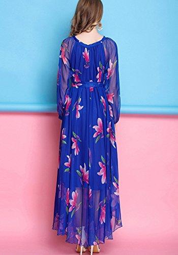 Medeshe - Robe - Trapèze - Manches Longues - Femme Bleu Marine