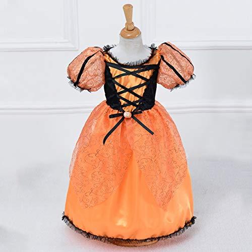 Jasnyfall Halloween Kostüme für Kinder Mädchen Frauen New Fantasy Kind Mädchen Orange mit Schwarz Charmed Cosplay Kleidung Kostüm