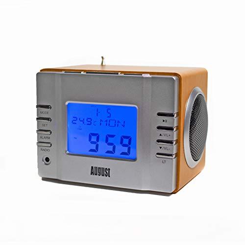 August MB300 Radio-réveil / Cube lecteur MP3 avec Radio FM, lecteur de carte, port USB et entrée AUX prise 3,5 mm, 2 haut-parleurs Hi-Fi 3W et batterie rechargeable intégrée