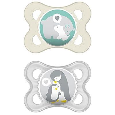 542420 Dummies MAM originales libres de BPA silicona con diseños unisex para Meses Edades 0-6 [Paquete doble en surtidos…