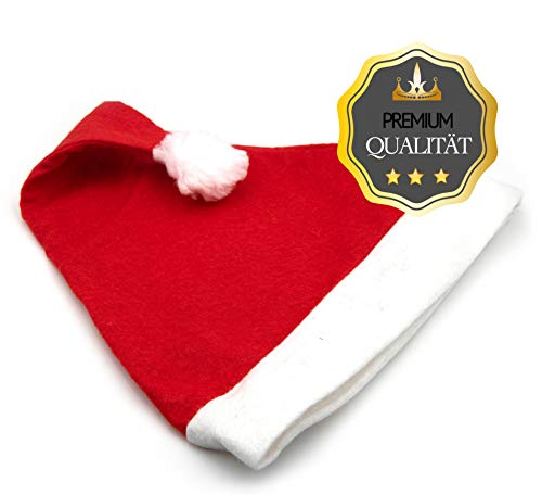 L+H 12x Weihnachsmütze Nikolausmütze rot mit Plüsch-Bommel |hochwertig, weich für Kinder und Erwachsene | Weihnachtsmann Santa Claus Xmas Mütze im Set | Weihnachten Nikolaus-Kostüm Weihnachtsmarkt -