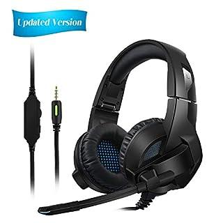 Amicool Gaming Headset für PS4/XBox One, Stereo Bass Surround/Noise Reduction/Volume Control/Over-Ear Gaming Kopfhörer mit Mikrofon für Laptop, PC, Mac, Computer und Smartphone