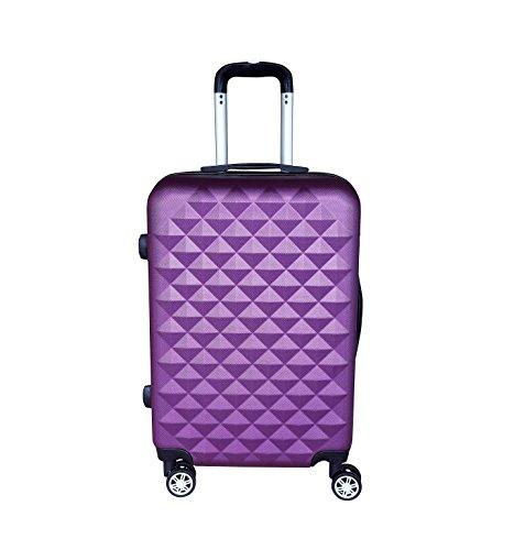 Reisekoffer Hartschale QTC Kairo 2 Case Trolley M / 55cm / Handgepäck Reise Koffer Trolly (lila)