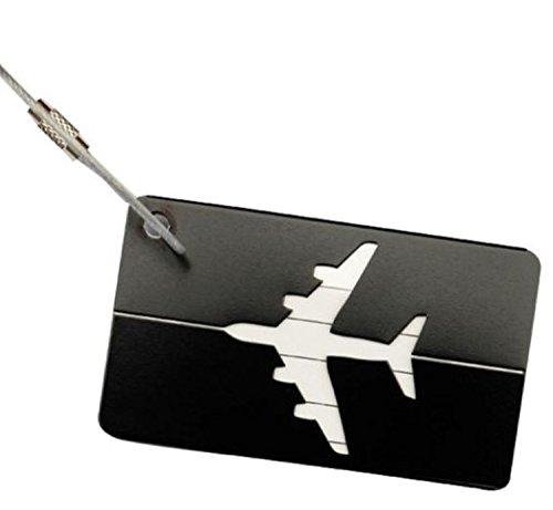 Kofferanhänger schwarzes Flugzeug, zum Aufklappen wadle-shop ® (Kofferanhänger Flugzeug)