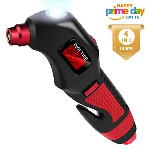 Reifendruckprüfer 4 in 1, mit Nothammer, Gurtmesser, Notfall-Taschenlampe, Morpilot 150 PSI tragbare Luftdruckprüfer Digital Reifendruck Messgerät, für LWK Autos Motorräder und Fahrräder