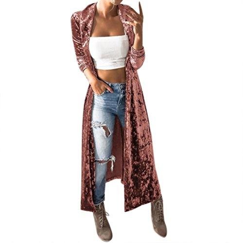 Strickjacke damen Kolylong® Frauen Elegant Samt Lang Strickjacke Mode Frühling Cardigan Langarmshirt Vintage Oversize Mantel Kimono Jacke Outwear Bluse (L, Rosa) (Kurzarm-kimono)