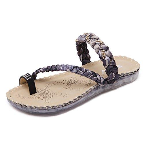 PENGFEI sandali delle donne Sandali piatti Sandali da spiaggia estate Femmina Sandali antiscivolo Tessuti flip flops Confortevole e traspirante ( Colore : A , dimensioni : EU37/UK4.5-5/L:235mm ) B